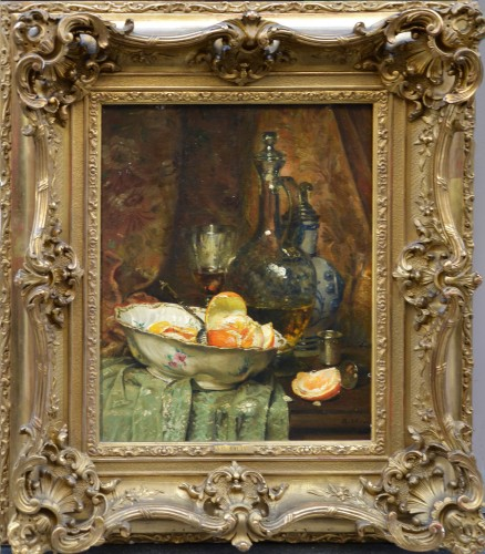 Jean-Baptiste Olive (1848-1936) Jug and Fruit - Paintings & Drawings Style Art nouveau