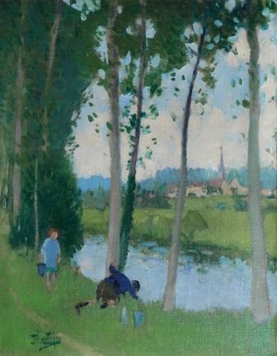 Pierre-Eugène Montézin  (1874-1946) - Enfants jouant au bord de l'eau
