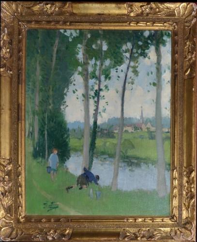 Pierre-Eugène Montézin  (1874-1946) - Enfants jouant au bord de l'eau - Paintings & Drawings Style