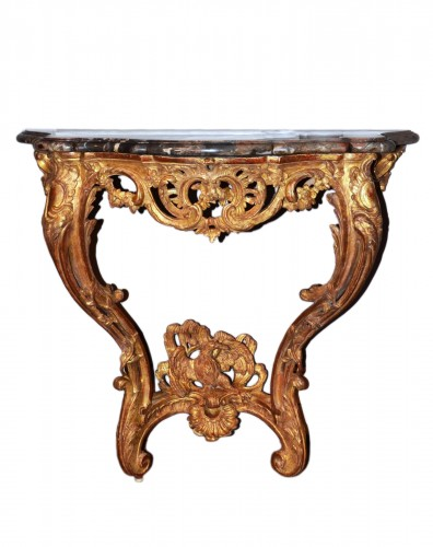 Carved and Gilded Wood Console Table Louis Xv