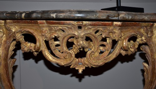 Furniture  -  Carved and Gilded Wood Console Table Louis Xv