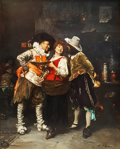 Ferdinand Roybet (1840-1920) - Gallant discussion  - Paintings & Drawings Style
