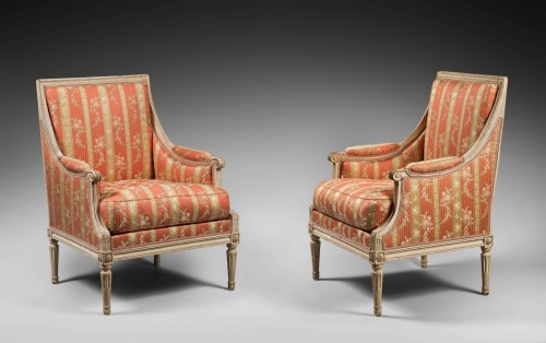 Pair of Bergères by Georges Jacob,  Louis XVI period - Louis XVI