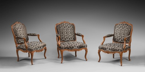 Nicolas Heurtaut, exceptional suite of eight armchairs for the Queen - Louis XV