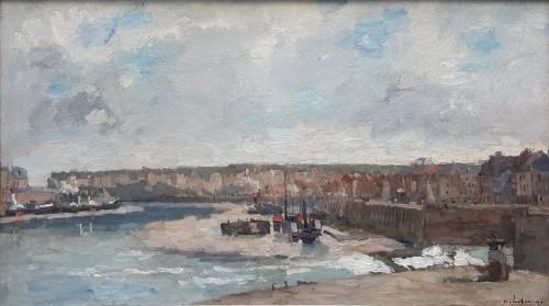"""Albert Lebourg (1849-1928) """"L'entrée du port à Dieppe"""""""