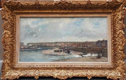 """Albert Lebourg (1849-1928) """"L'entrée du port à Dieppe"""" - Paintings & Drawings Style"""