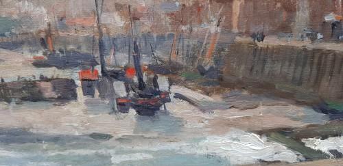 """Paintings & Drawings  - Albert Lebourg (1849-1928) """"L'entrée du port à Dieppe"""""""