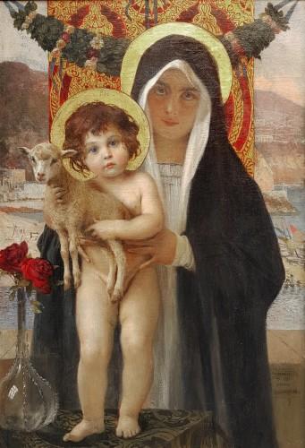 """François Flameng  (1856-1923) """"Vierge à l'enfant"""""""
