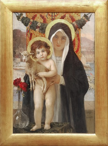 "Paintings & Drawings  - François Flameng  (1856-1923) ""Vierge à l'enfant"""