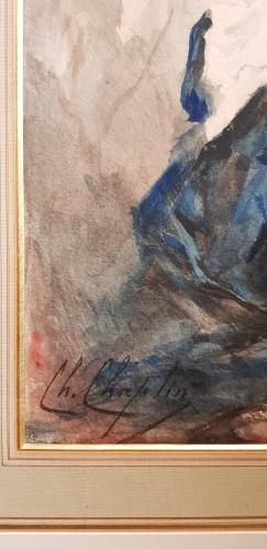 Charles Chaplin  (1825-1891) - Naked girl in drape - Paintings & Drawings Style Louis-Philippe