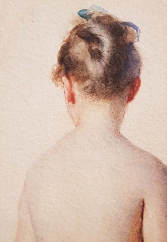 Paintings & Drawings  - Charles Chaplin  (1825-1891) - Naked girl in drape