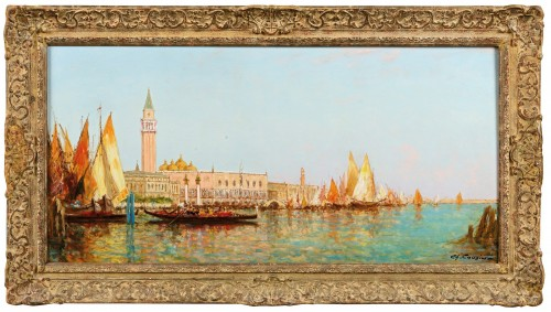 Charles Eugène COUSIN  - Gondolas and sailboats in front of the Doge's Palace
