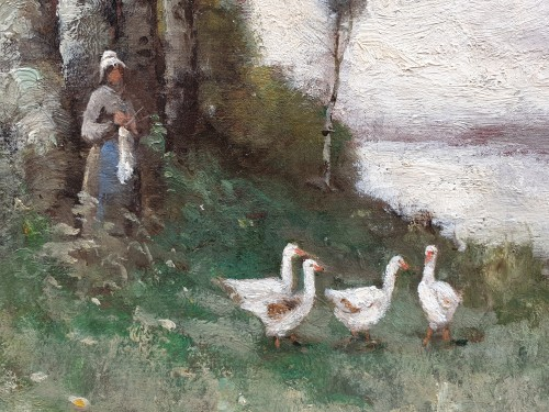 Paul-Désiré Trouillebert (1829-1900) The goose keeper - Paintings & Drawings Style