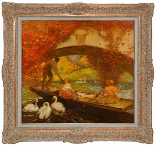 20th century - Gaston La Touche  (1854-1913) - Boat trip under the bridge, Saint Cloud