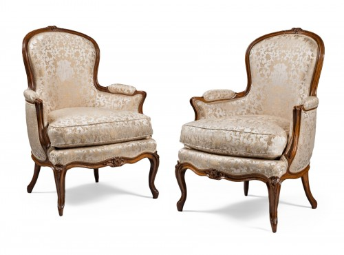 "Pair of ""Bergères"" in cabriolet, Louis XV period"