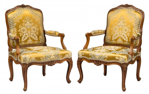 Pair of Louis XV period armchairs by Louis Cresson