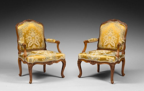 Pair of Louis XV period armchairs by Louis Cresson - Louis XV