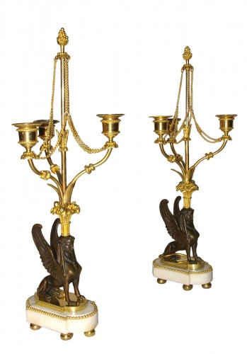 Pair of candelabra with sphinxes, Directoire period