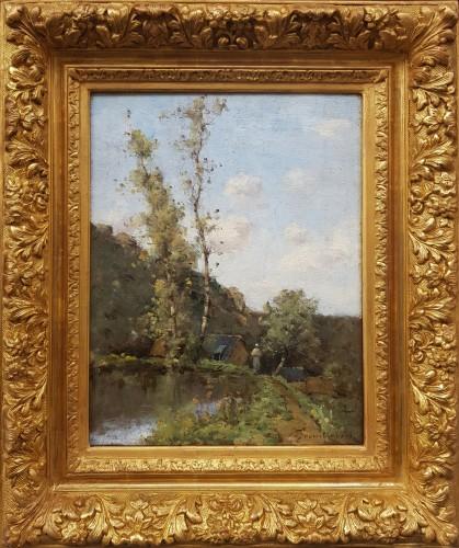 19th century - Paul-Désiré Trouillebert  (1829-1900)  L'étang du moulin