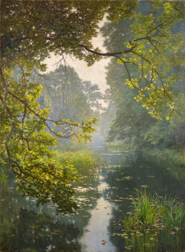 "Henri Biva (1848-1928) ""Pond in the mist""  Salon de Paris  1910"