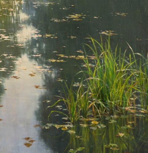 "Paintings & Drawings  - Henri Biva (1848-1928) ""Pond in the mist""  Salon de Paris  1910"