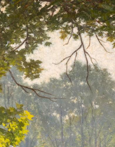 """Henri Biva (1848-1928) """"Pond in the mist""""  Salon de Paris  1910  -"""