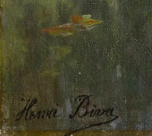 """Antiquités - Henri Biva (1848-1928) """"Pond in the mist""""  Salon de Paris  1910"""