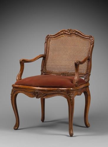 """18th century - Caned """"Fauteuil de bureau"""" by Etienne Meunier"""