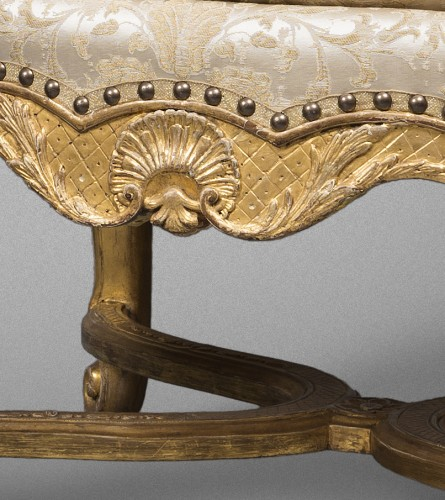 Seating  - Pair of French Régence period giltwood armchairs