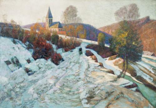 Victor Charreton (1864-1937) - Le chemin dans l'ombre, neige, 1911