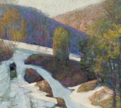 Victor Charreton (1864-1937) - Le chemin dans l'ombre, neige, 1911 -