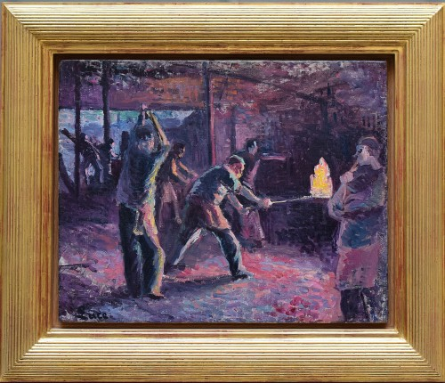 """""""La Verrerie"""" (Glass factory), circa 1897-1899 - Maximilien LUCE (1859-1941) - Paintings & Drawings Style"""