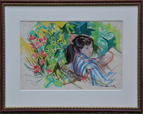 """""""Young Woman with Flowers"""", C. 1965 - Emilio GRAU SALA (1911-1975) - Paintings & Drawings Style"""