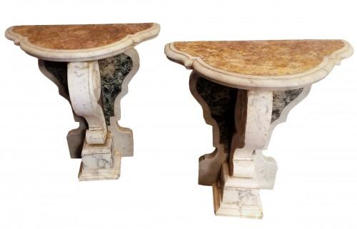 pair of Italian marble consoles