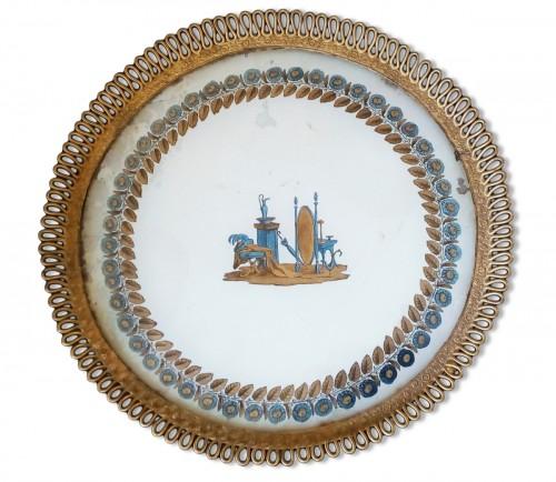 Eglomisé bronze tray.