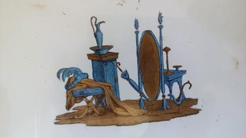 Eglomisé bronze tray. -