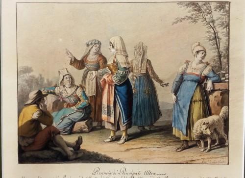 Aquarelle Naples - Saverio della Gatta (1758-1828) - Paintings & Drawings Style Empire