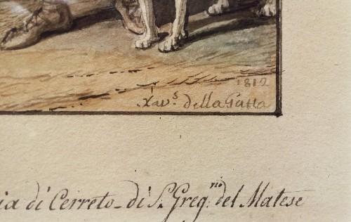 Aquarelle Naples - Saverio della Gatta (1758-1828) -