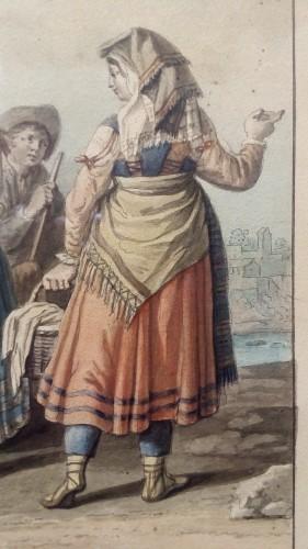19th century - Aquarelle Naples - Saverio della Gatta (1758-1828)
