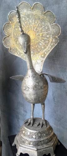 Perfume-burner paire shaped as a peacock. Iran, Qajar - Curiosities Style Napoléon III