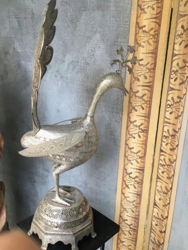 19th century - Perfume-burner paire shaped as a peacock. Iran, Qajar