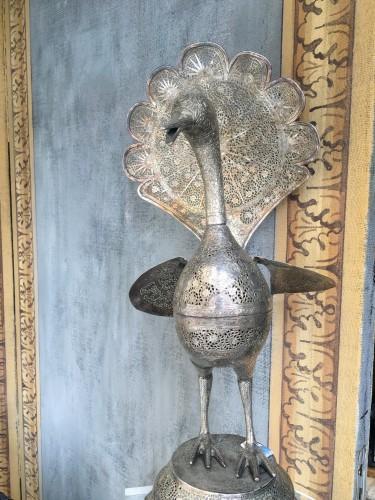 Perfume-burner paire shaped as a peacock. Iran, Qajar - Napoléon III