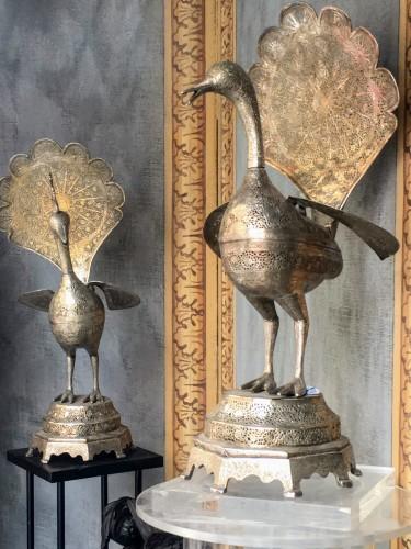 Antiquités - Perfume-burner paire shaped as a peacock. Iran, Qajar