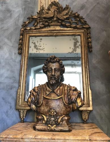 August renaissance wooden  buste - Sculpture Style Renaissance