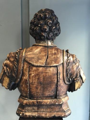 August renaissance wooden  buste - Renaissance