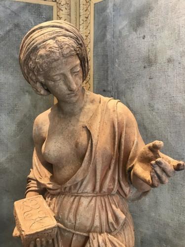Statue en terre cuite néoclassique - Sculpture Style Restauration - Charles X
