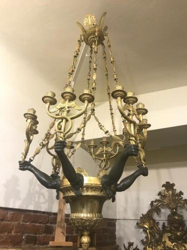 Empire style bronze chandelier  -