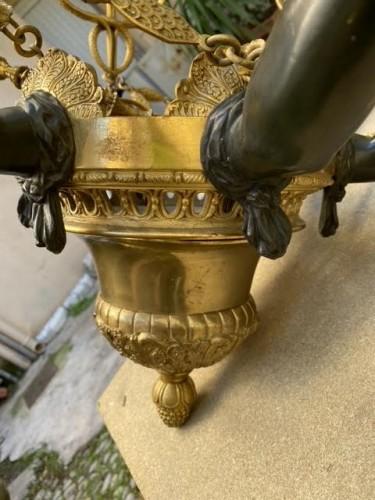 19th century - Empire style bronze chandelier