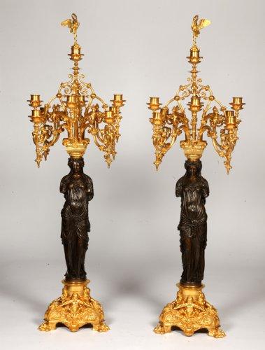 Pair of gilt bronze candelabras - Barbedienne