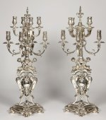 Cardeilhac - Pair of silvered bronze candelabra - 8 lights